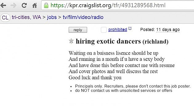 Sketchy Richland Craigslist Ad Looking For Exotic Dancers