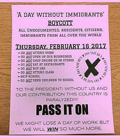 A Day Without Immigrants Flier